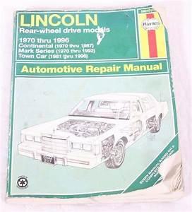 Haynes Repair Manual Lincoln Rear