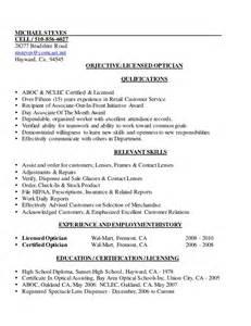 licensed optician resume sle mike s licensed optician resume 2013