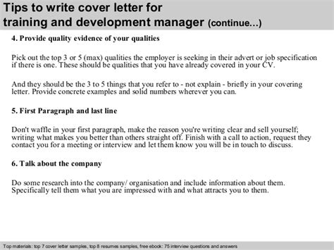 training  development manager cover letter