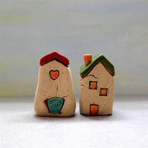 Set of two little clay houses home decor , White home