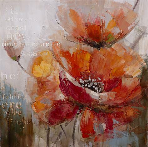peinture fleurs oranges abstraite tableau carr 233
