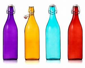 ITALIAN GLASS BOTTLES Decorative, Red, Blue, Orange