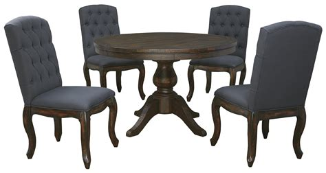 5piece Round Dining Table Set With Upholstered Side