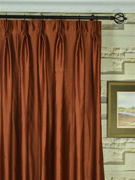 Wide Curtains by Wide Swan Brown Solid Pinch Pleat Curtains