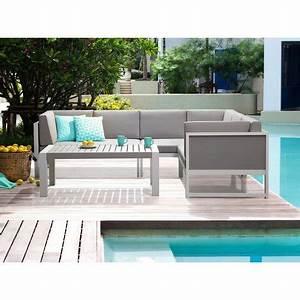 Canape Angle Jardin : salon de jardin canap d angle et table basse aluminium blanc et gris vinci ~ Teatrodelosmanantiales.com Idées de Décoration