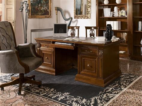 luxury classic writing desk  carved wood  office