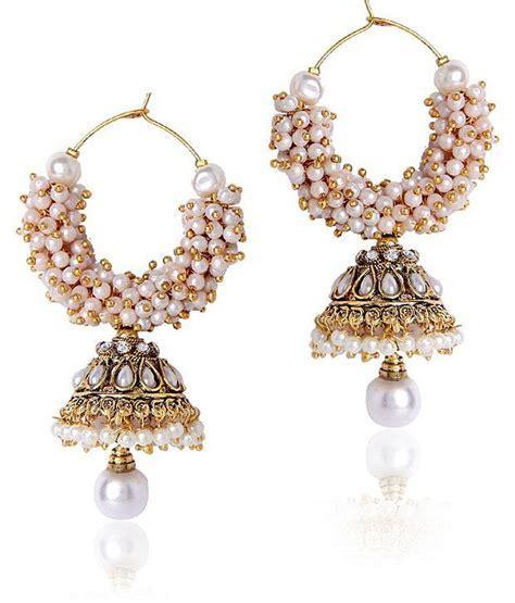 Women White Beaded Jhumki Earrings At Rs 499 Lowest Online
