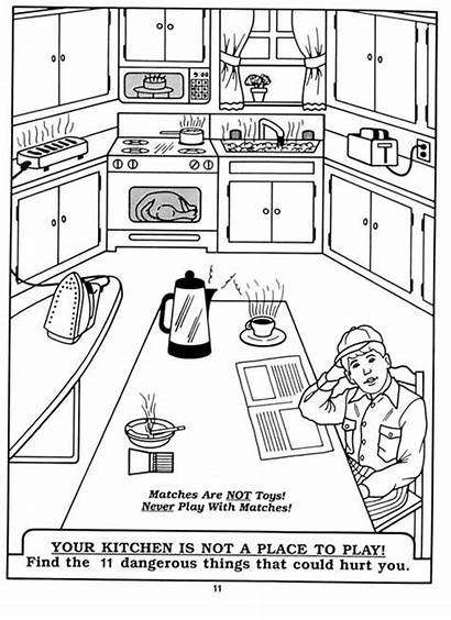 Kitchen Safety Coloring Pages Fire Worksheet Rules