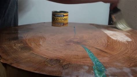 custom wood table color epoxy inset process