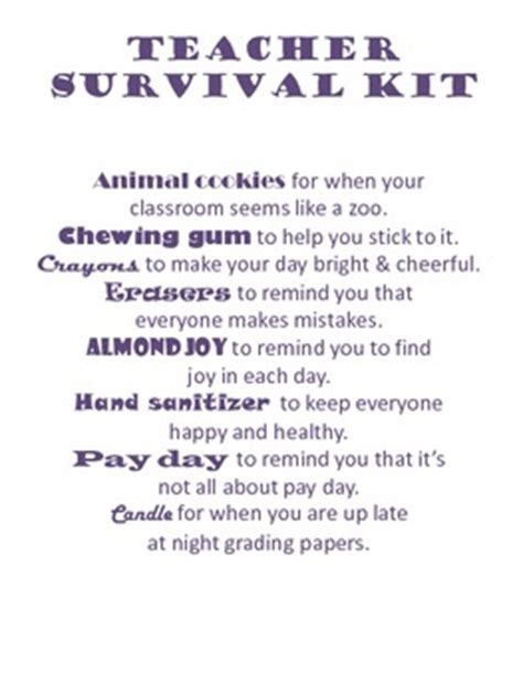 teacher survival kit printable  allison mercier tpt