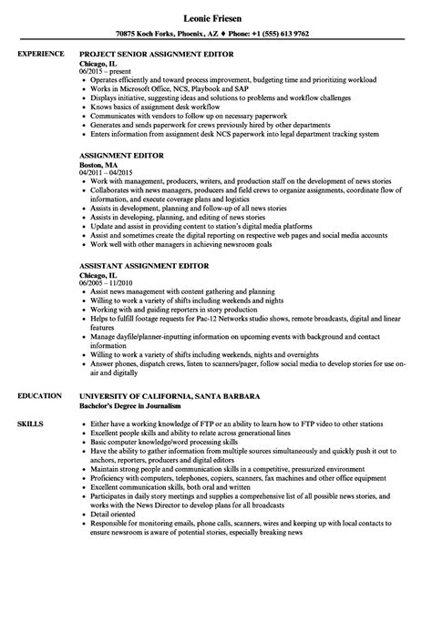 Resume Assignment by Assignment Editor Resume Sles Velvet