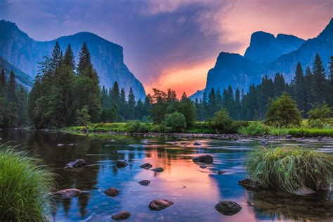 Landscape Nature Sunset Mountains River Reflection