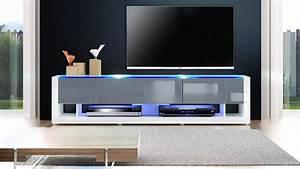 Meuble Gris Et Blanc : meuble tv blanc gris laqu meuble tv blanc moderne trendsetter ~ Teatrodelosmanantiales.com Idées de Décoration