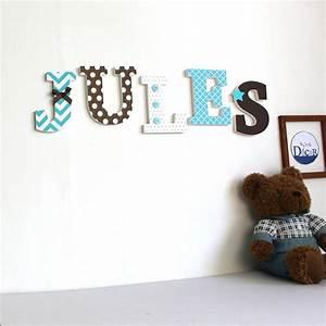 Lettre En Bois Pas Cher : lettres en bois jules turquoise et chocolat ~ Teatrodelosmanantiales.com Idées de Décoration