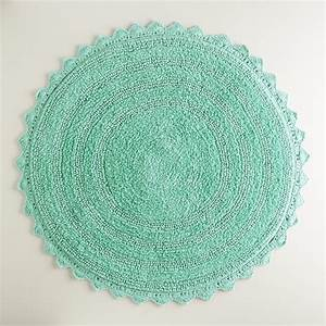 Sea blue round bath mat world market for Round bath rugs