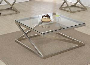 ollie brushed nickel clear glass coffee table With polished nickel coffee table