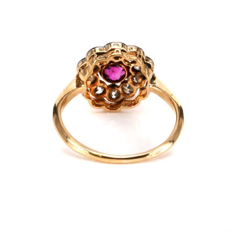ruby and deco ring deco ruby and cluster ring