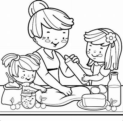 Coloring Cooking Grandmother Kitchen Children Adult Line