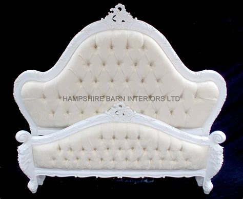 White King Headboard Upholstered by A Charles French Louis Style Bed In Antique White And