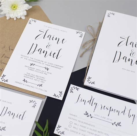modest love wedding invitation and rsvp by eliza may