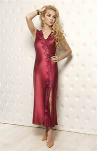 long burgundy satin nightgown salome w00929b With robe de nuit longue