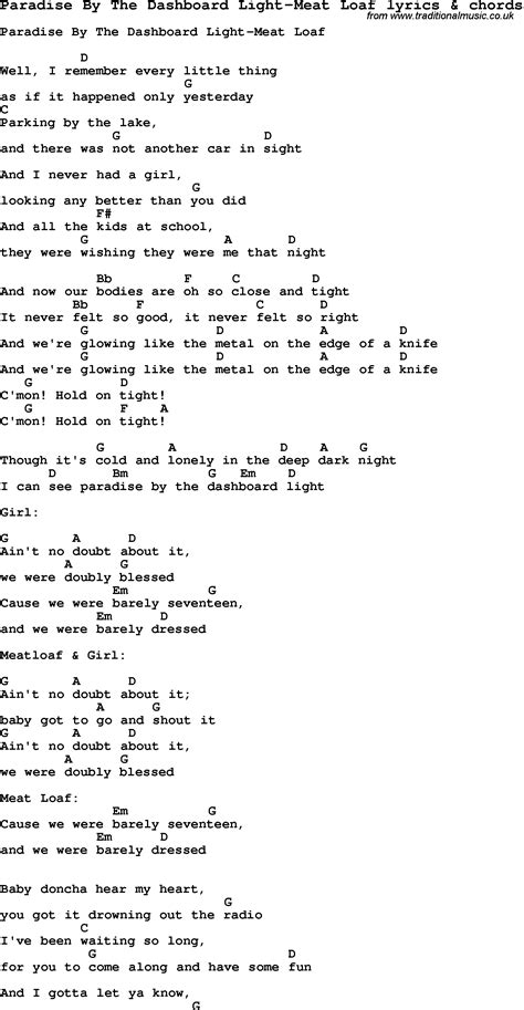 paradise by the dashboard light chords song lyrics for paradise by the dashboard light