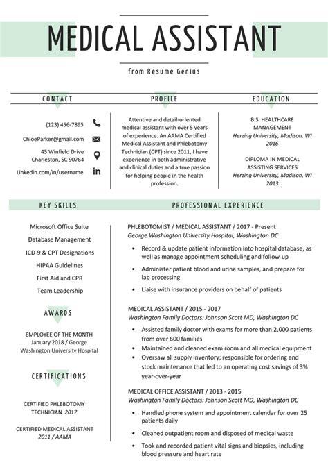 medical assistant resume sle writing guide resume genius
