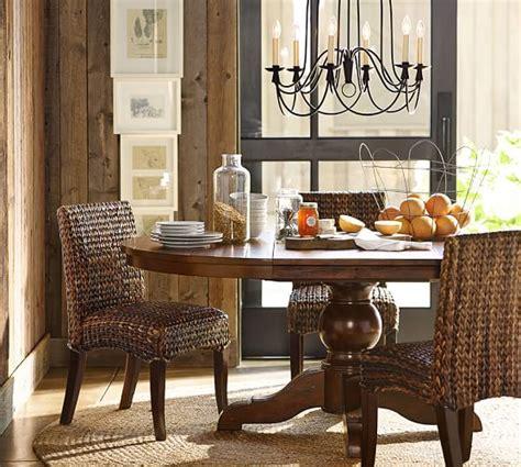 sumner extending pedestal table seagrass chair 5