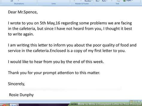 write  complaint letter   principal