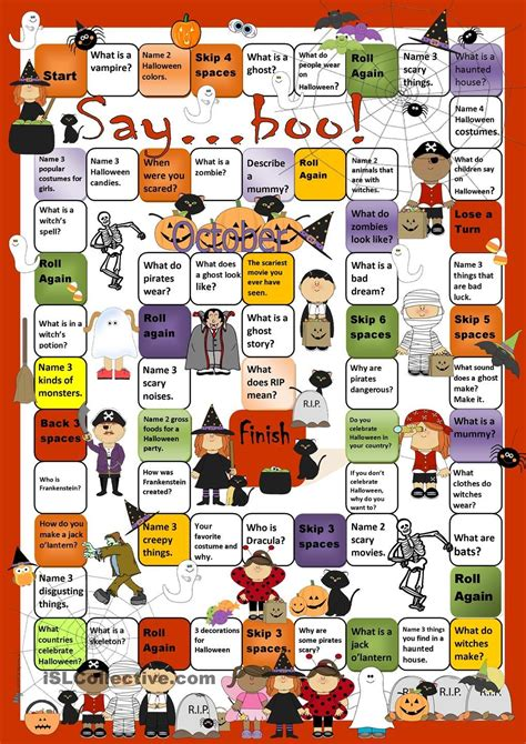halloween board game worksheet  esl printable