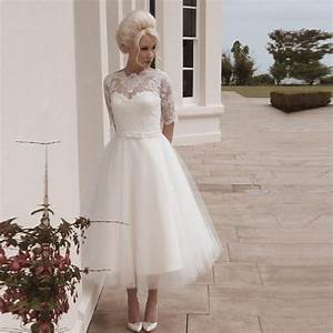 short bridal wedding dress plus size with half sleeves tea With tea length wedding dresses with sleeves