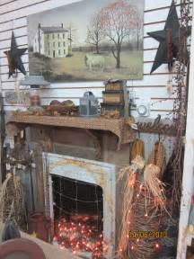 Primitive Country Fireplace Mantel Decorating Ideas