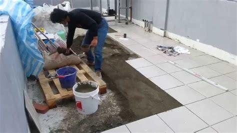 ceramic floor tile installation  sloping gradient