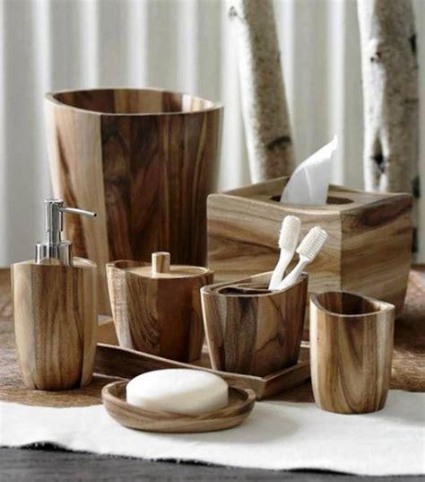 """acacia"" Wood Bath Accessories By Kassatex Rustic"