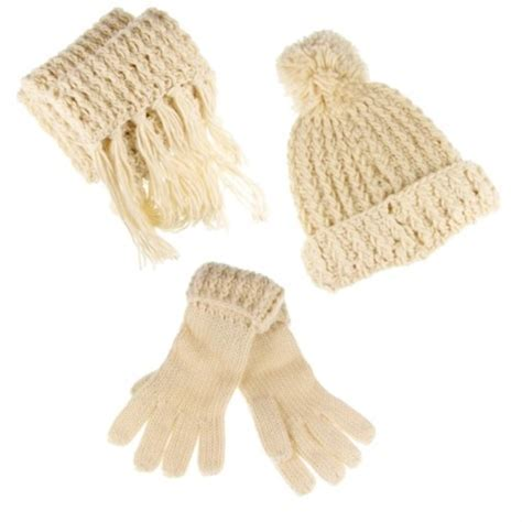 Betsy Knitted Ladies Hat; Scarf & Glove Set Cream