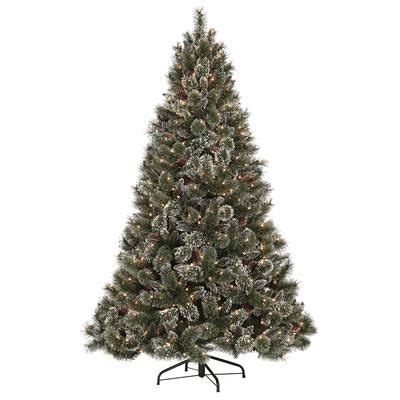 martha stewart living 7 5 feet glittery pine pre lit artificial tree gb1 300ec 75x home