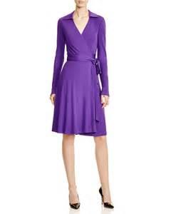 diane von furstenberg long sleeve wrap dress in purple lyst