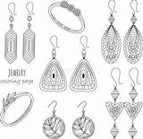 Outline Coloring Rings Earrings Jewelry sketch template