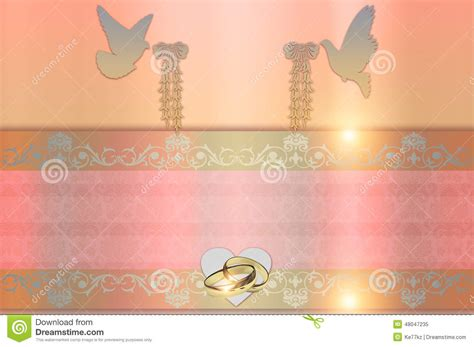 Wedding Invitation Gold Heart And Doves Royalty Free Stock