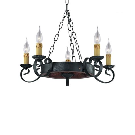 Wrought Iron Chandeliers Uk by Searchlight Lighting Cartwheel 5 Light Rustic Wrought Iron