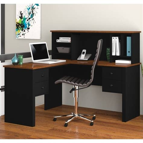 bestar somerville l shaped desk with hutch in black and