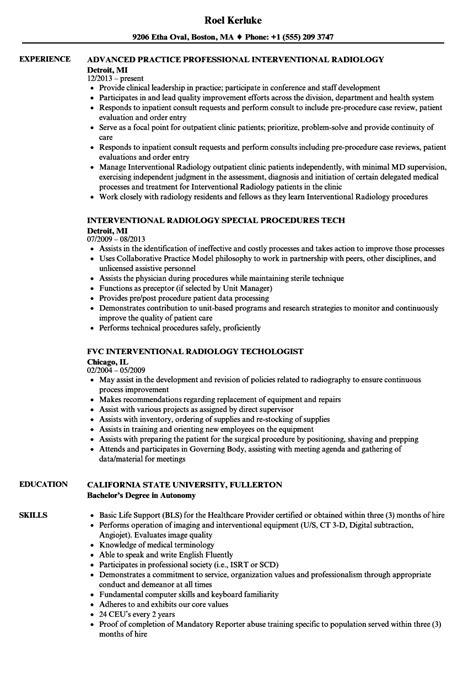 Technologist Resume by 10 Radiologic Technologist Resume Exles Resume Sles