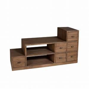 Meuble Bois Exotique : meuble tv escalier cannelle exotique bois 105x38x56cm ~ Premium-room.com Idées de Décoration
