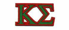 greek embroidered letters interconnecting With kappa sigma stitched letters