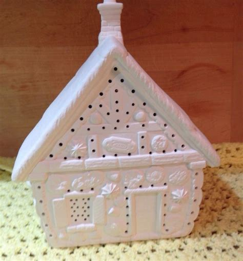 ceramic christmas gingerbread house unpainted candy light