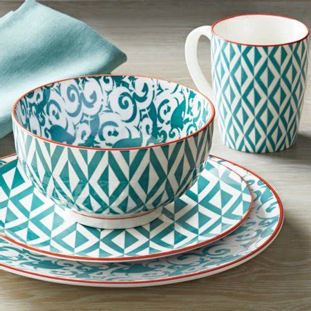 Better Homes And Garden Dishes by Better Homes And Gardens Piers Teal Mix And Match 16
