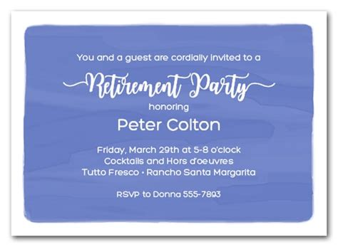 Whoever the retiree, we have a full list of retirement party ideas including retirement party. Blue Watercolor Wash Business Retirement Party Invitations