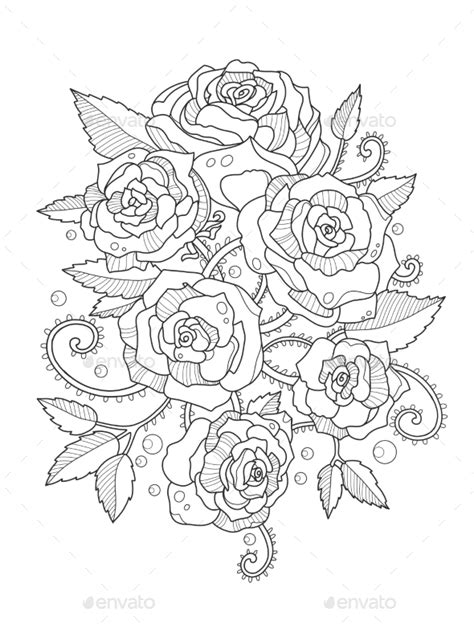 Roses Coloring Book for Adults by AlexanderPokusay | GraphicRiver