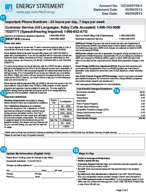 pg e customer service phone number standard care program electric statement page 2