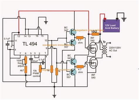 pwm modified sine wave inverter circuit using ic tl494 555 in 2019 circuit projects sine